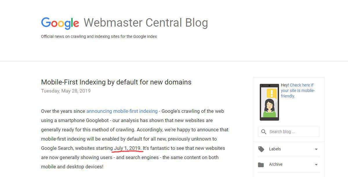 Mobile-First Indexing by default for new domains